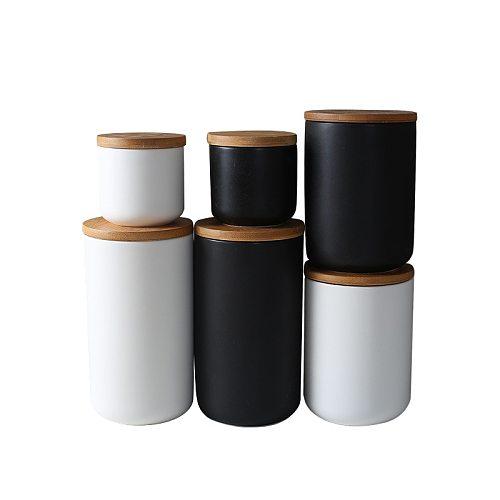 Ceramic Jar with Wood Lid Storage Bottle Jar Kitchen Food Coffee Tea Pot Seasoning Sealed Desktop Decoration Cereal Container