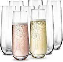 Stemless Champagne Flute Glasses,Elegant All-Purpose Wine Drinking Glassware Beverage Cups for Water, Juice, Beer, Liquor, Whisk