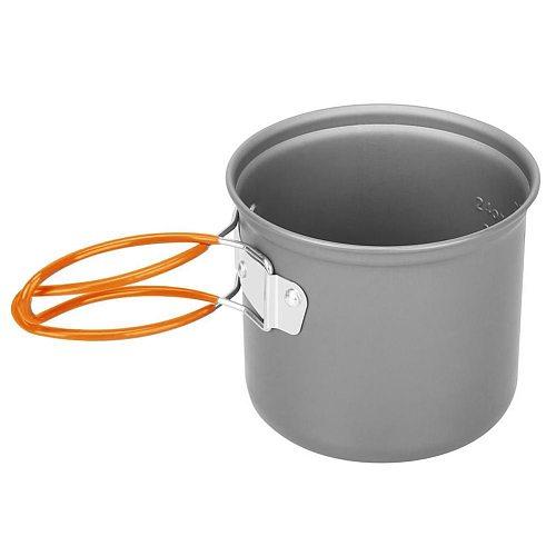 Camping Cookware Set Portale Tableware Cooking Travel Outdoor Cutlery Utensils Pot Pan Hiking Picnic Tools Orange Handle