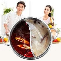 30cm Stainless Steel Hot Pot Single-Layer Thicken Soup Binaural Mandarin Duck Pot Fondue Cooking Pot for Kitchen Cookware
