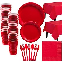 Red Solid Color Party Set Disposable Plastic Plate Cup Tablecloth Birthday Party Wedding Decoration For 10 People