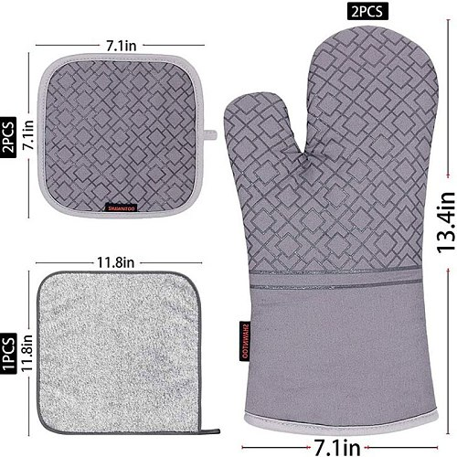 Kitchen Anti-scalding Oven Gloves Mitts Potholder for BBQ Cotton Microwave Baking Insulation Gloves Tray Dish Bowl Potholder Pad