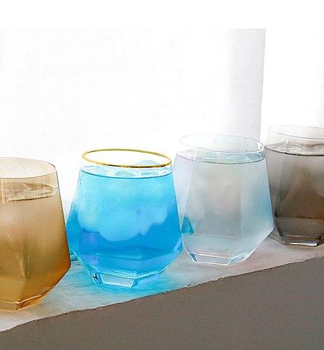 2 Pcs/lot 310ml creative Hexagonal shape fashion home water glass transparent whiskey shot wine glass cups GLA-97