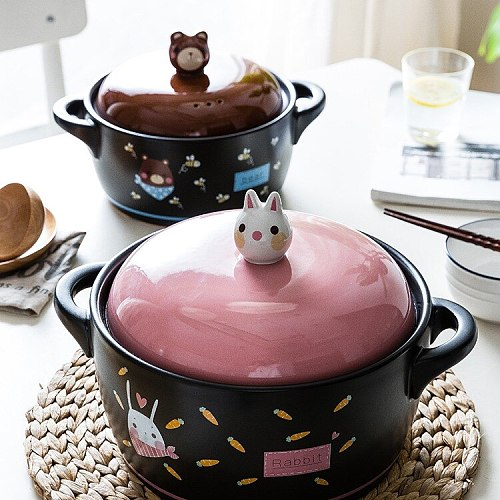 Rabbit Casserole/Stewpot Cute Stew Soup for Household Gas Stove Claypot Rice Soup Pot