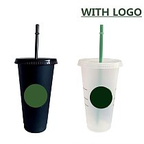 700ml Straw Cup With Lid With Logo Color Change Coffee Cup Reusable Cups Plastic Tumbler Matte Finish Coffee Mug Tazas