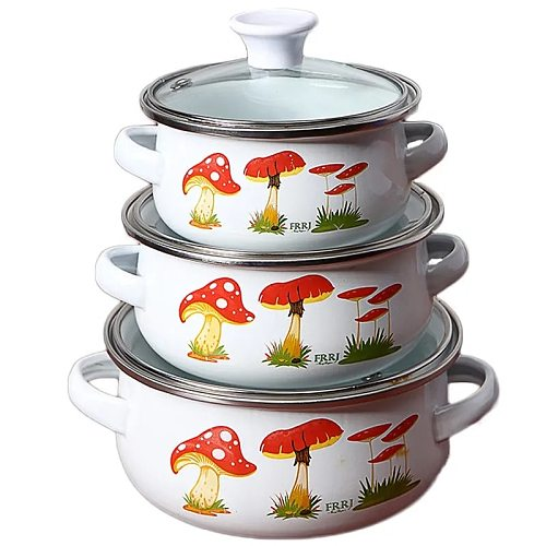 Enamel Enamel Soup Pot Milk Pot Baby Food Supplement Noodle Cooking Pot Sauce Pot Stew Pot 3 Piece Set Universal Pots and Pans
