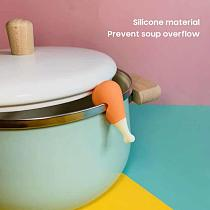 Creative Silicone Spill-Proof Pot Lid Rack Carrot Design Overflow Stoppers Pot Cover Lifter Kitchen Cooking Accessories