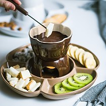 Ceramic Chocolate Fork Hot Pot Forks Cheese Fruit Dessert Fork Fondue Melting Skewer Kitchen Accessories Gadget