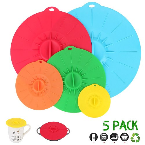 5Pcs Gadgets Pan Lid Stopper Silicone Stretch Lids Food Fresh Cover Reusable Microwave Bowl Cover Bowl Pot Cup Lid