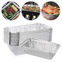 30PCS Aluminum Foil Box Roasting BBQ Tray Baking Bread Pan Cooking Cake Mold Kitchen Outdoor Supplies