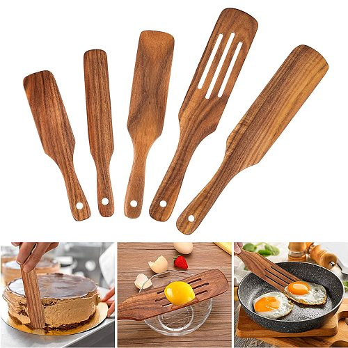 5x Wooden Nonstick Spurtle Spatula Sets Kitchen Cookware Set for Stirring