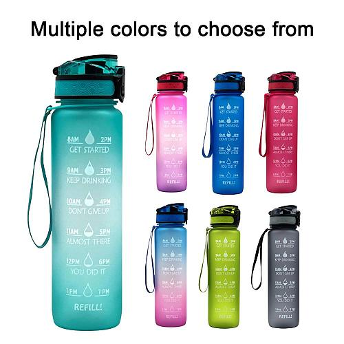1PC Gradient Date Sports Bottle Power Kettle With Time Stamp  Tritan Shaker Outdoor Travel Camping Hiking School Plastic Drink