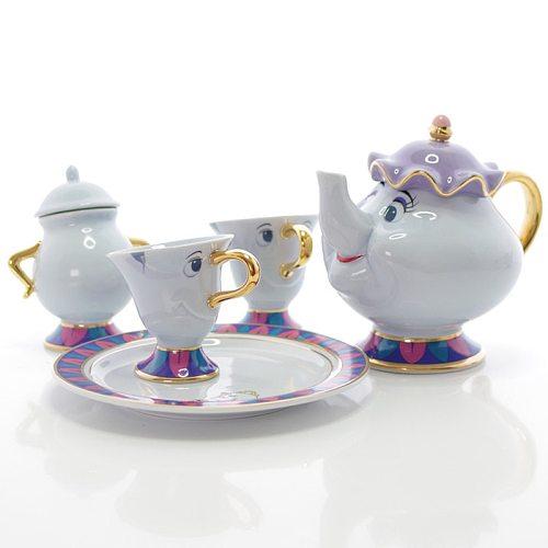 Cartoon Beauty And The Beast Tea Set Teapot Cup Mrs Potts Sugar Pot Bowl Chip Mug Plate Saucer Kettle Milk Coffee Creative Gift