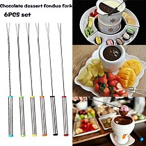 6pcs / Set New Stainless Steel Chocolate Fork Cheese Pot Hot Forks Fruit Dessert Fork Fondue Fusion Skewer Kitchen Tools
