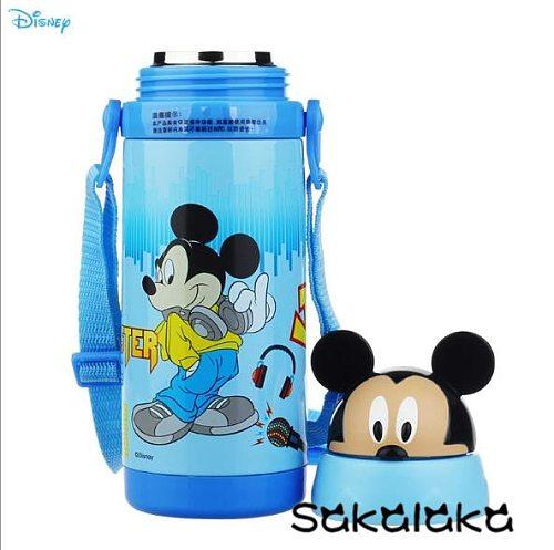 380ml Disney 3D image vacuum water bottle kids cartoons with rope