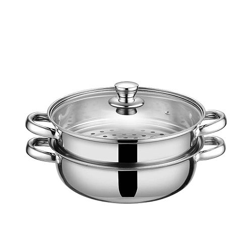 1 Pcs 28cm Multifunctional Steam Pot Double Layers Stockpot Stainless Steel Steamer Cooking Boiler Cookware,Silver