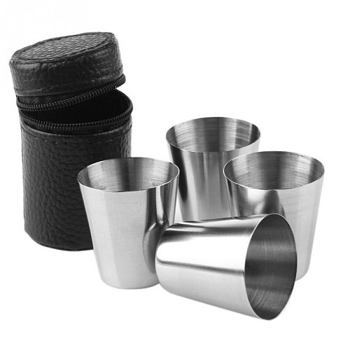 P2018 Hot Free Bag 4pcs 30ml  Set Stainless Steel  Wine Beer Whiskey Outdoor Travel P