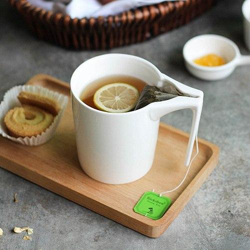 330ml Creative White Ceramic Mug with Tea Bag Holder Special Slotted Cup Tea Bag Holding Mug Tea Drinker For Afternoon Tea time