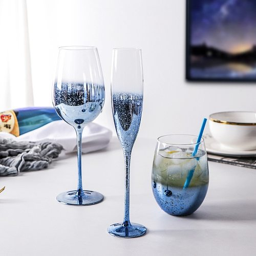 Color crystal glass red wine glass set wine goblet creative color champagne glass wine set