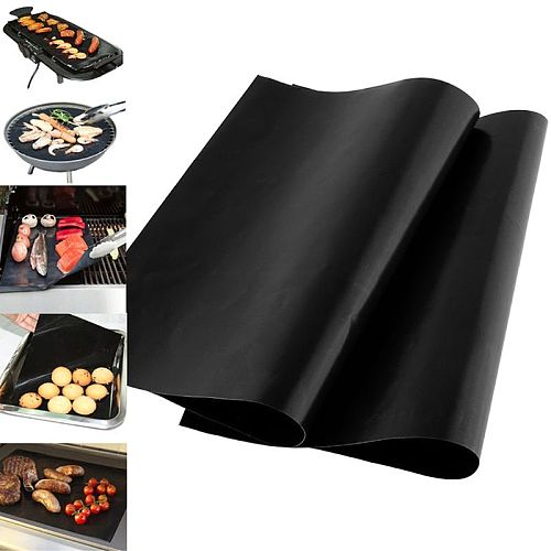 2021 new 0.08mm thick barbecue liner cookware microwave tool, 33x40cm reusable non-stick barbecue mat