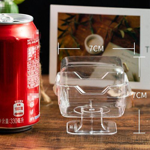 50pcs Creative goblet transparent square disposable dessert plastic cups 110ml pudding ice cream jelly cake yogurt box with lid