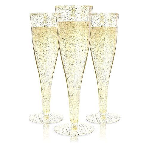 20pcs Gold Glitter Plastic Champagne Flutes Disposable Cups Toasting Glasses Wedding Baby Shower Party Supplies Wholesales