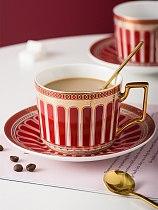 Europe Ceramic Coffee Cup Saucer Spoon Set Luxury Bone China Coffee Cup Porcelain Afternoon Black Tea Cup Set  Coffeeware Set