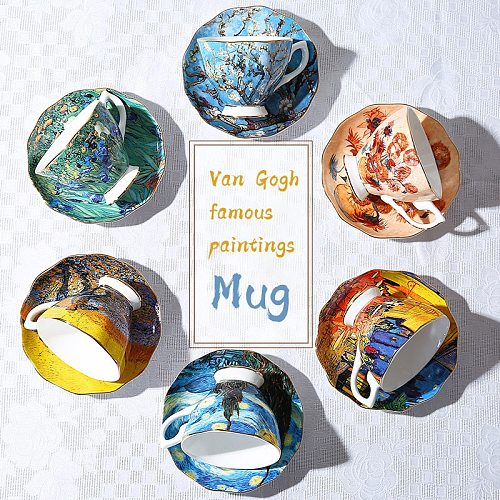 Van Gogh Star Coffee Cup And Saucer Set Household Ceramic Utensils Bone China English Afternoon Tea Cup Tea Set With Spoon
