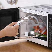 Transparent AntiSputtering Cover Microwave Oven Food Cover Heat Resistant Lid Handle Food Cover Household Kitchen Cookware Parts