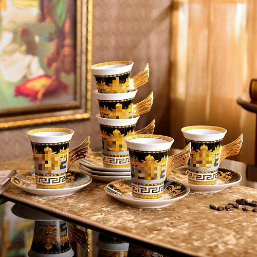Luxury Porcelain Coffee Cup Set European Tableware  Service Dish  and Saucer Black Gold Tea  Bone China Type Feature