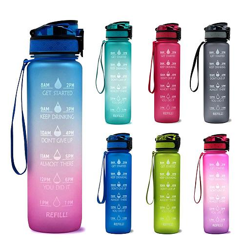 1L Tritan Material Water Bottle With Bounce Cover Time Scale Reminder Frosted Leakproof Cup For Outdoor Sports Fitness