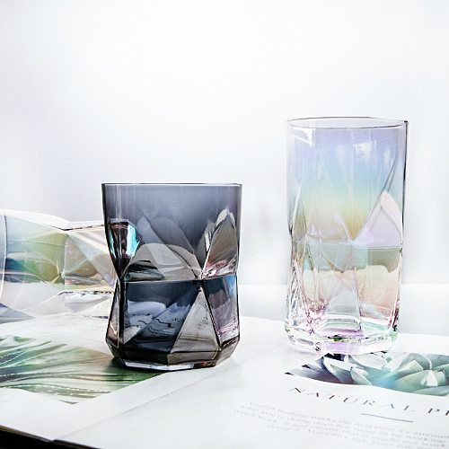 Nordic Whisky Geometric Cup Household shot Glass Cup Colorful Juice Wine Cup Transparent Mug Whiskey Beer Glass gafas verre