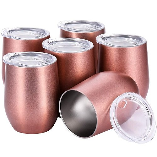 Professional1 Set 6 Pcs 12 Oz Unbreakable Drinkware Stemless Wine Tumbler Stainless Steel Triple-Insulated Vacuum Wine Glass Cup