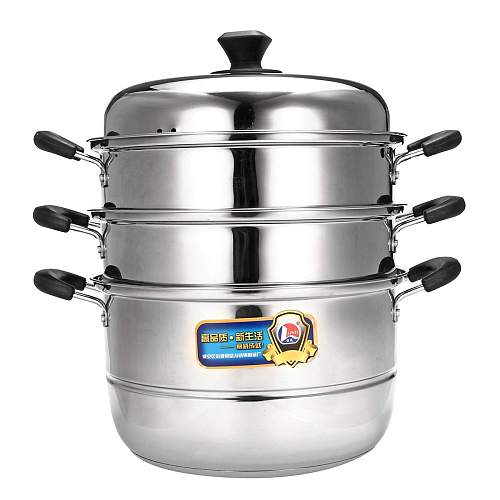 3 Layer Double Boilers Universal Cooking Pots Stainless Steel Steamer Pot Soup for Induction Cooker Gas Stove Steam Pot Cookware