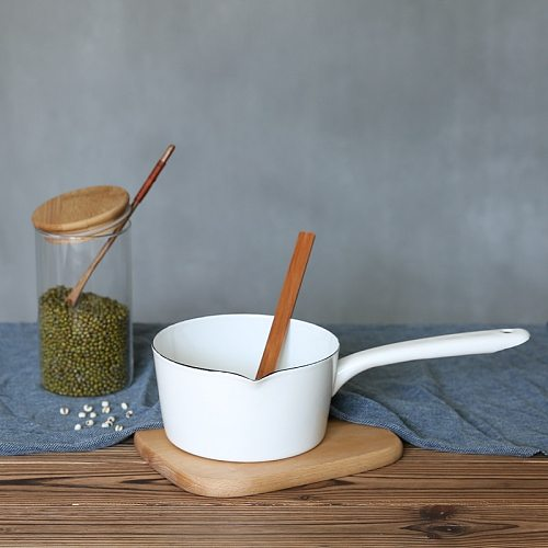 1.3L Japanese Style White Ceramics Milk Pot Kitchen Cooking Pan Pot Stewpan Baby Food Saucepan with Long Handle for One People