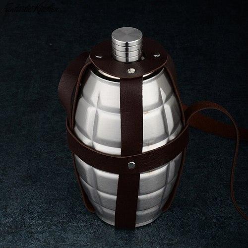 64oz Large Capacity Spot Pattern Hip Flask grenade Hip Flask Leather Holster Large Capacity Stainless Steel Hip Flask