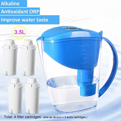 3.5L Mineral Hydrogen Water Filter Pitcher Alkaline ionizer water Jug with 4 replacement filters Ph 8-10 ORP -100 to -300mV