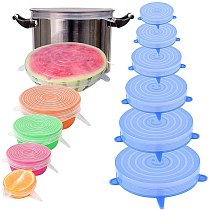 Teyaao 6pcs Reusable Silicone Caps Food Cover Adjustable Stretch Bowl Lids Kitchen Wrap Seal Fresh Keeping Cookware Accessories