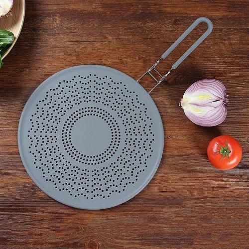 Silicone Splash-Proof Net Oil-Proof Splash Cover Frying Protection Mat Non-Slip Handle Pot Lid Kitchen Tool Vegetable Strainer