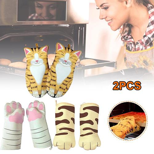 2pcs 3D Cartoon Cat Paws Oven Mitts Cute Design Heat Resistant Pot Holder Non-Slip Microwave Oven Gloves Kitchen Tool Accessorie