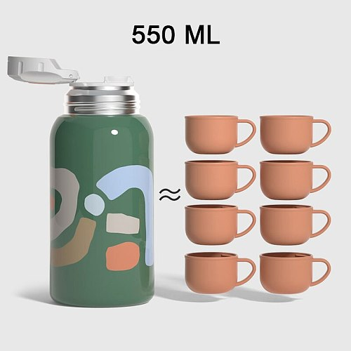 New Portable Thermos Cup Water Bottle with 3 Lids 550ml Hydroflask Stainless Steel Tumblers High Quality Gift for Kid Baby Adult