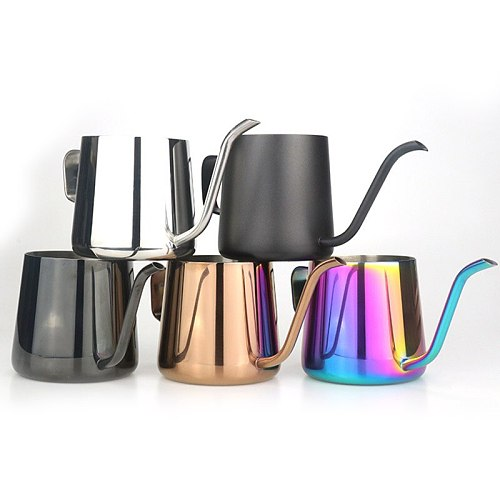 250/350ml Gooseneck Kettle Pour Coffee Tea Pot Non-stick Coating Food Grade Stainless Steel Drip Kettle Swan Neck Thin Mouth