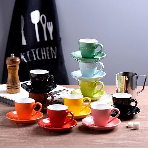 2020 Italian Style Strong Coffee Mug Saucer Set 80ml Professional Colorful Macaroon Ceramic Espresso Shot Cups Tasse Cafe Kopjes