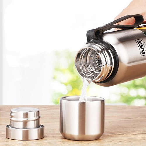 UPORS 500/700/1000/1500ml Portable Vacuum Flask Insulated with Rope Thermo Bottle Large Capacity Stainless Steel Thermos Tumbler