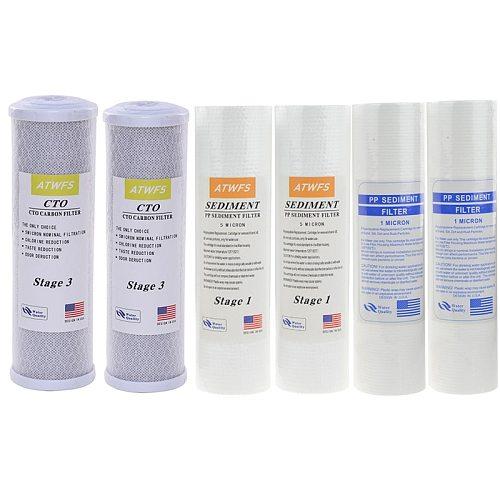 ATWFS Water Filter Caridge 2pcs 1Micron PPF Cotton+2pcs 5Micro PPF Cotton+2pcs Activated Carbon Cartridge Reverse Osmosis System