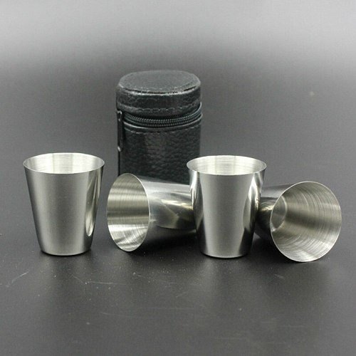 Simple 30ml Wine Cups Set 4PCS Stainless Steel Outdoor Portable with Cup Cover Metal Vodka Strong Winebowl Drinkware Shot Cup