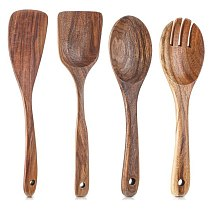 4 Pieces Wooden Kitchen Utensils Set,Non-Stick Wood Spoons for Cooking Spurtle Spatula Salad Spoon Fork,Kitchen Cookware