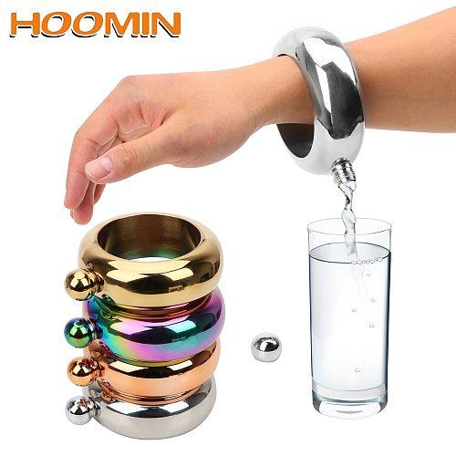 HOOMIN Wine Bottle for Whiskey Vodka Alcohol 3.5 oz Round Chic Hip Flask Bracelet Elegant Drinkware Accessories Bangle Hip Flask