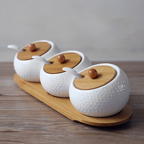 Ceramic Condiment Storage Jar Household Seasoning Pot Bamboo Tray Spice Jar Soy Sauce Box Salt Sugar Can Kitchen Organizer Tools