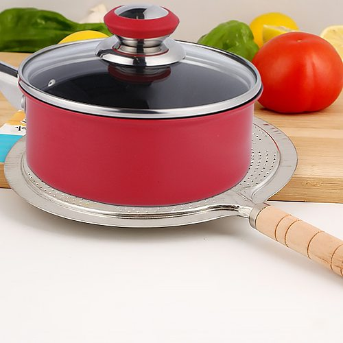 Round Heat Diffuser with Wooden Handle Coffee Milk Cookware Metal Simmer Ring Kitchen Tool